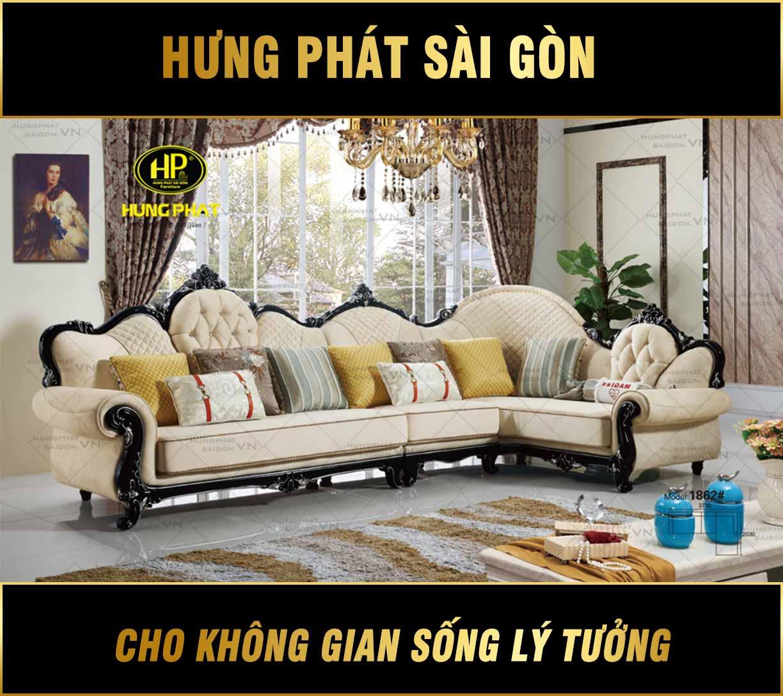 Sofa góc tân cổ điển nhập khẩu mã H-1862