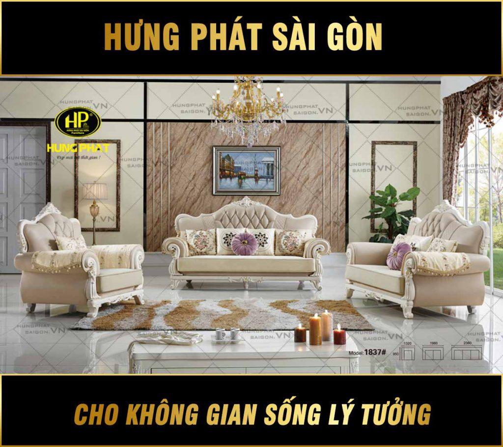 Sofa tân cổ điển bằng da mã H-1837