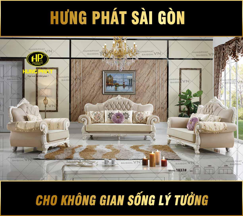 Sofa tân cổ điển bằng da mã H-1837 (Hết Hàng)