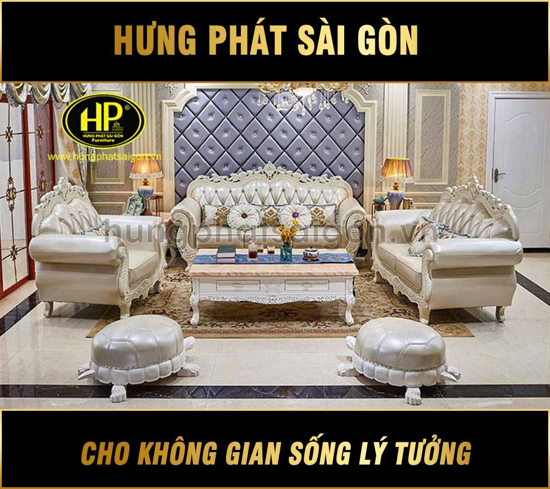Sofa tân cổ điển da H-3077