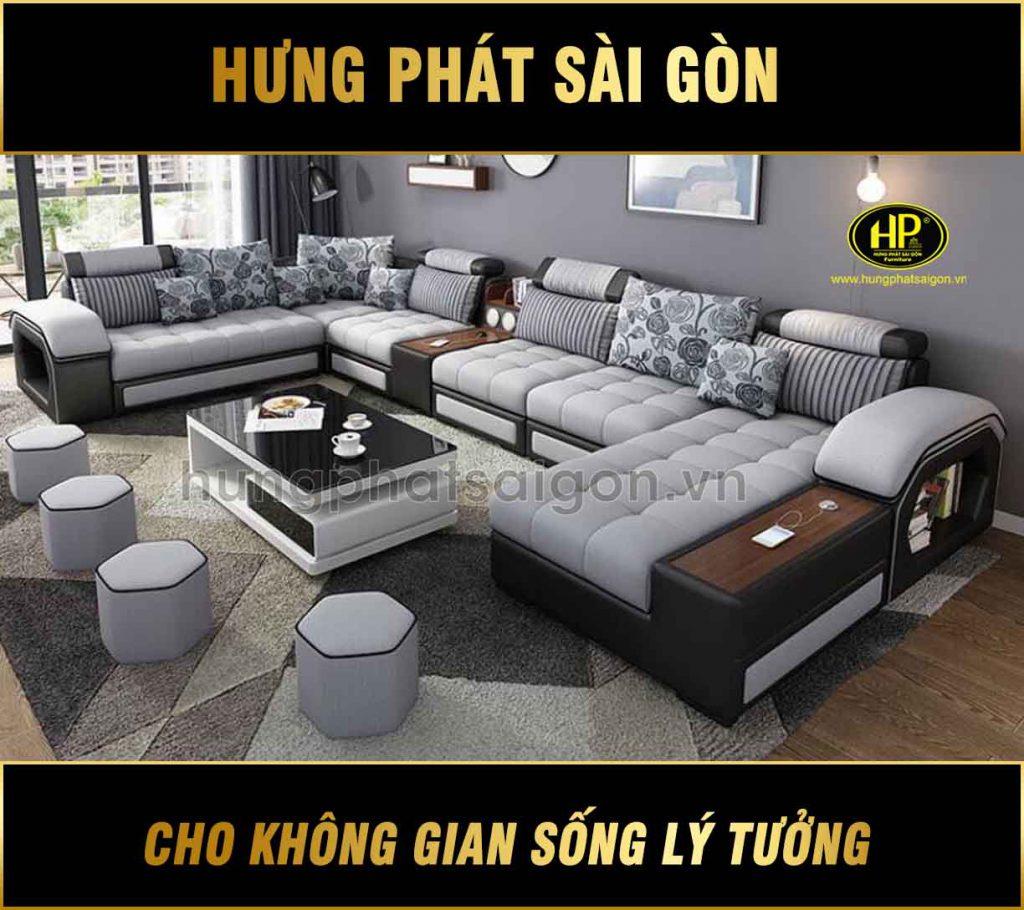 Sofa Da Góc Kích Thước Lớn H-2520B