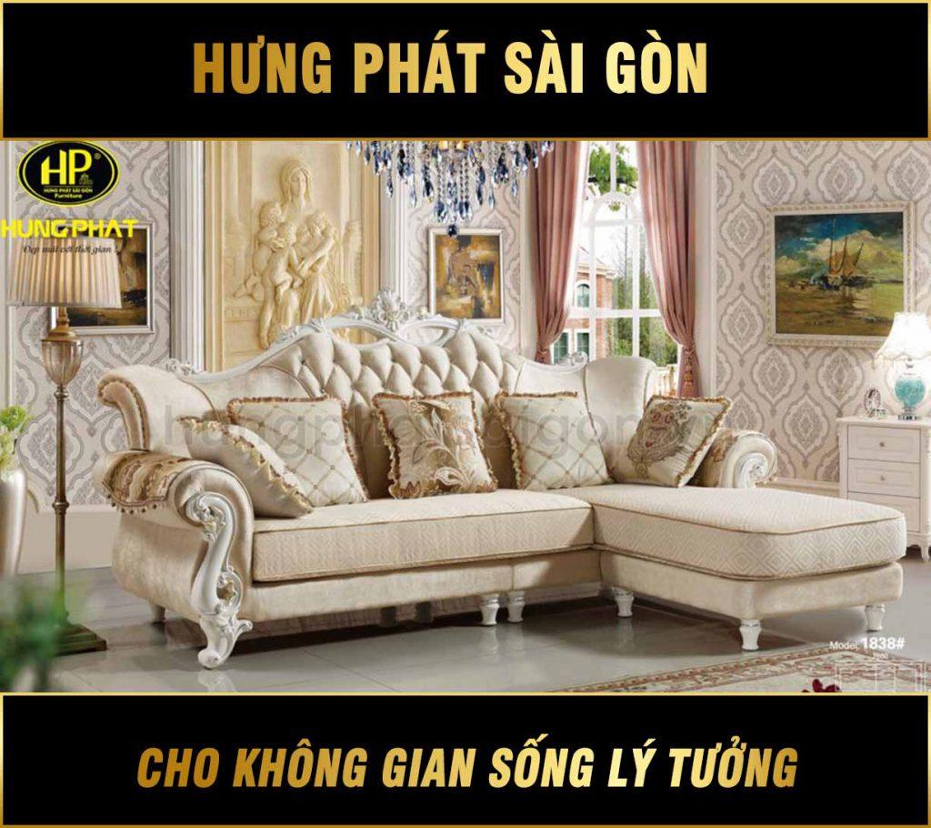 Sofa góc tân cổ điển kích thước nhỏ H-1838