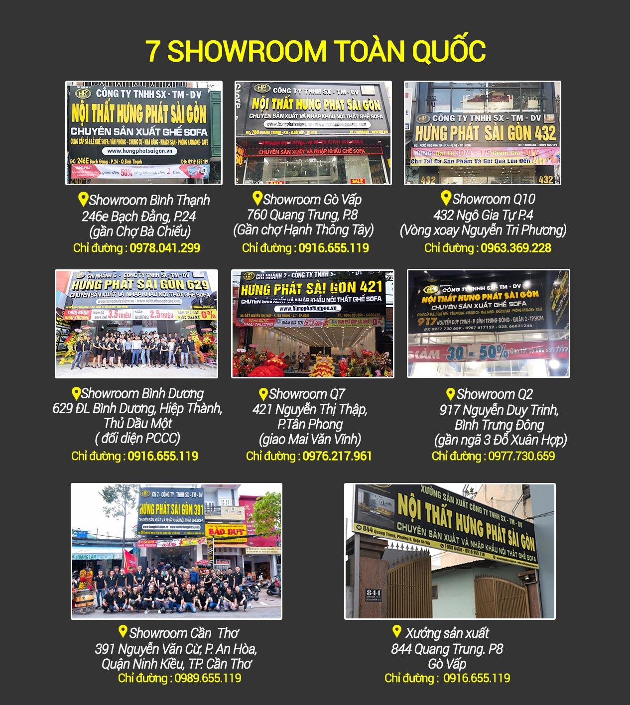 7 chi nhánh showroom của hungphatsaigon.vn
