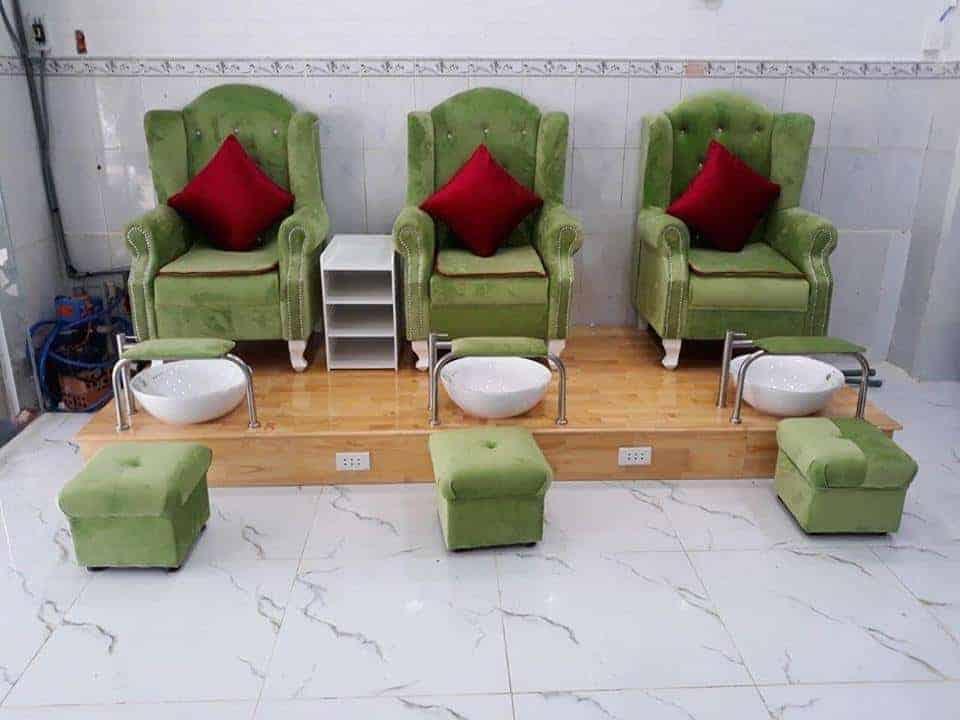 ghế làm nail màu xanh tại hungphatsaigon.vn
