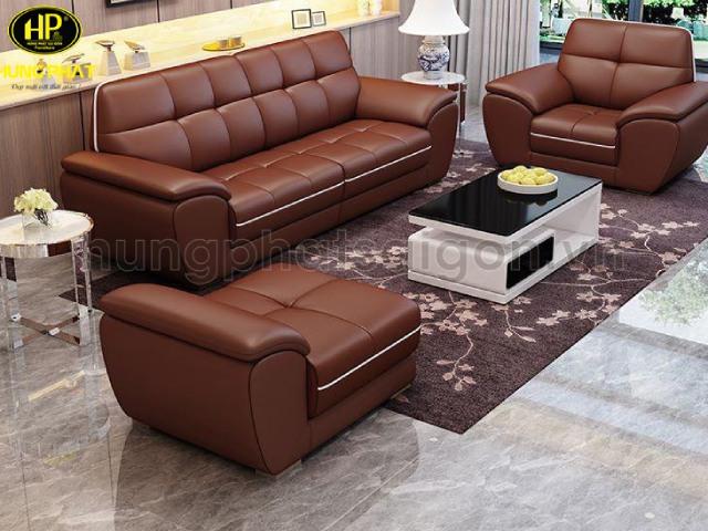 Sofa da màu nâu giúp văn phòng càng thêm sang trọng