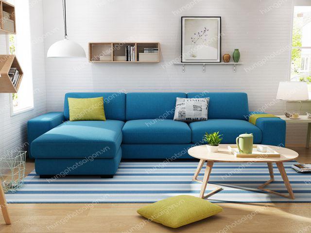 Màu xanh ấn tượng của sofa góc mã H400