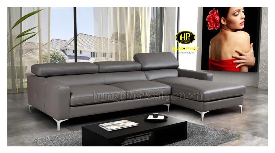 ghế sofa da màu xám cao cấp sang trọng hiện đại tại tphcm