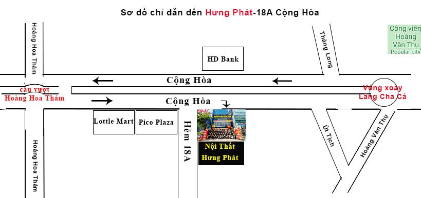 bản đồ chỉ đường showroom cộng hòa