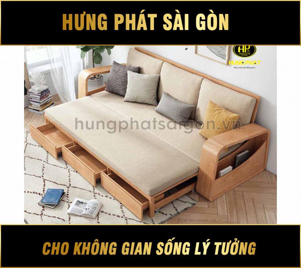 Sofa giường kéo gỗ sồi mẫu mới G-08S