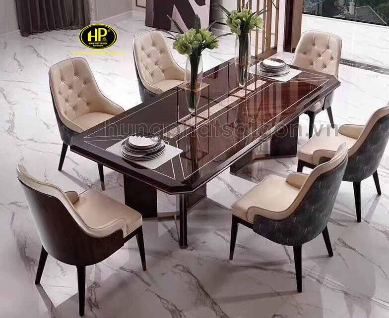 bàn ăn cổ điển vuông gỗ hương