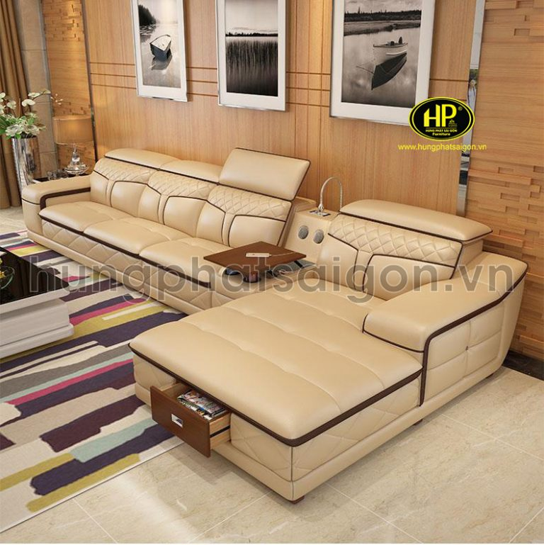 ghế sofa da màu vàng đẹp mẫu mới