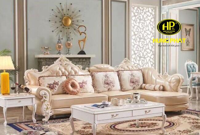 Sofa tân cổ điển da cao cấp H-1800