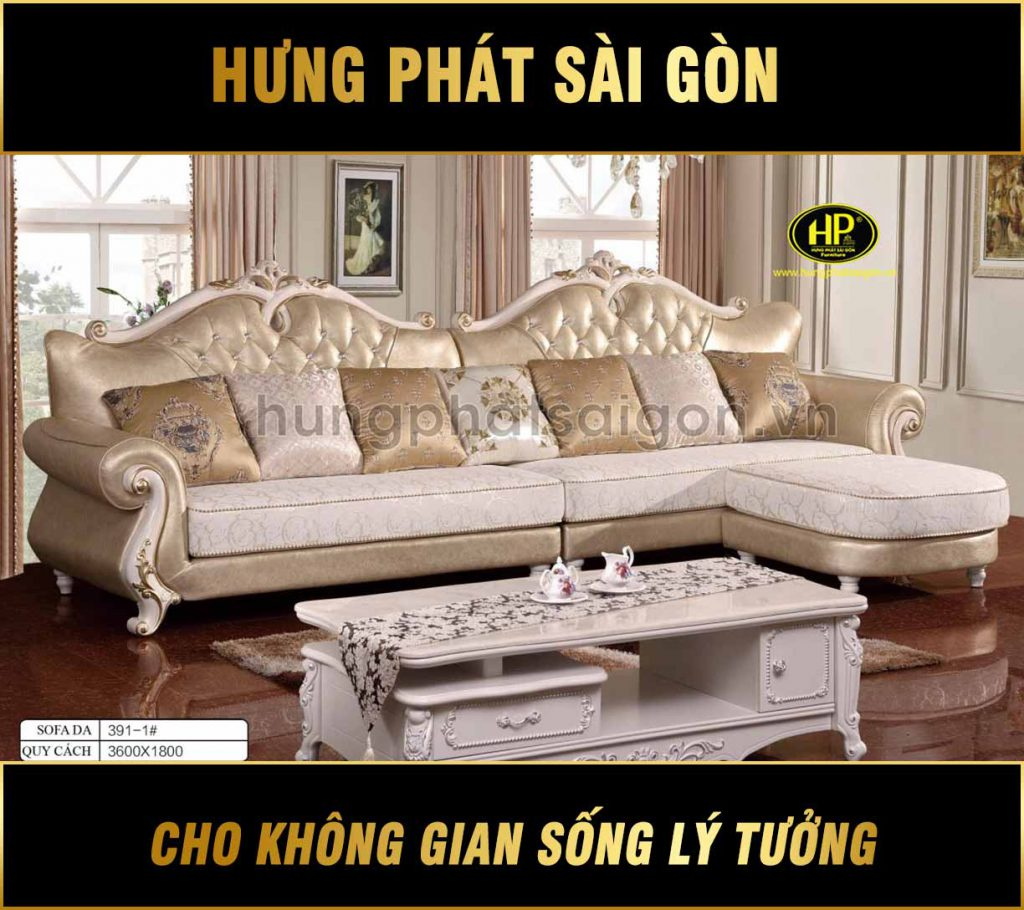 Sofa da tân cổ điển H-3391-1
