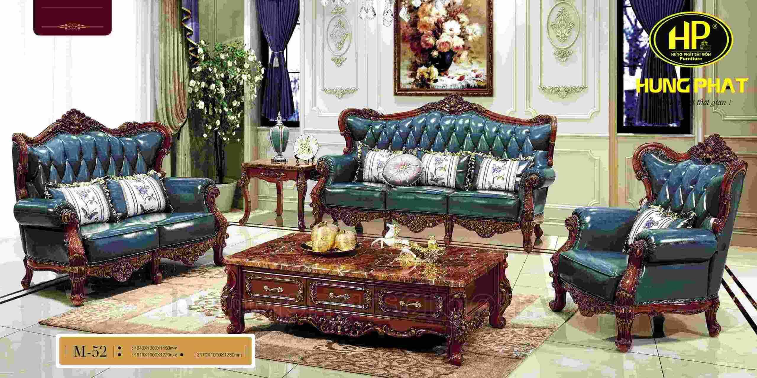 sofa da tân cổ điển hiện đại