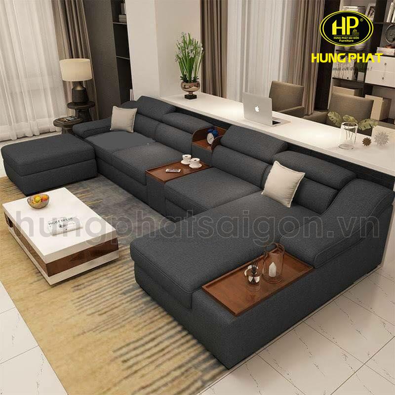 sofa góc vải giá rẻ màu xám nâu đẹp