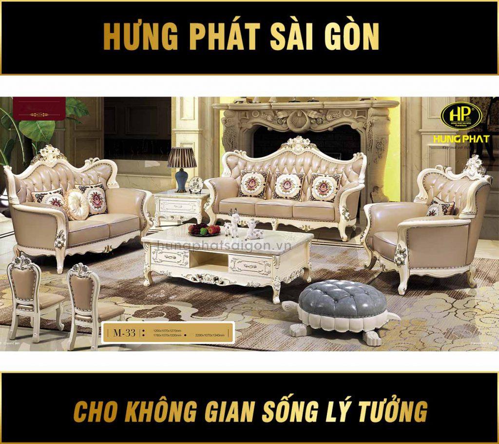 Sofa Tân Cổ Điển Luxury Da Bò M-33