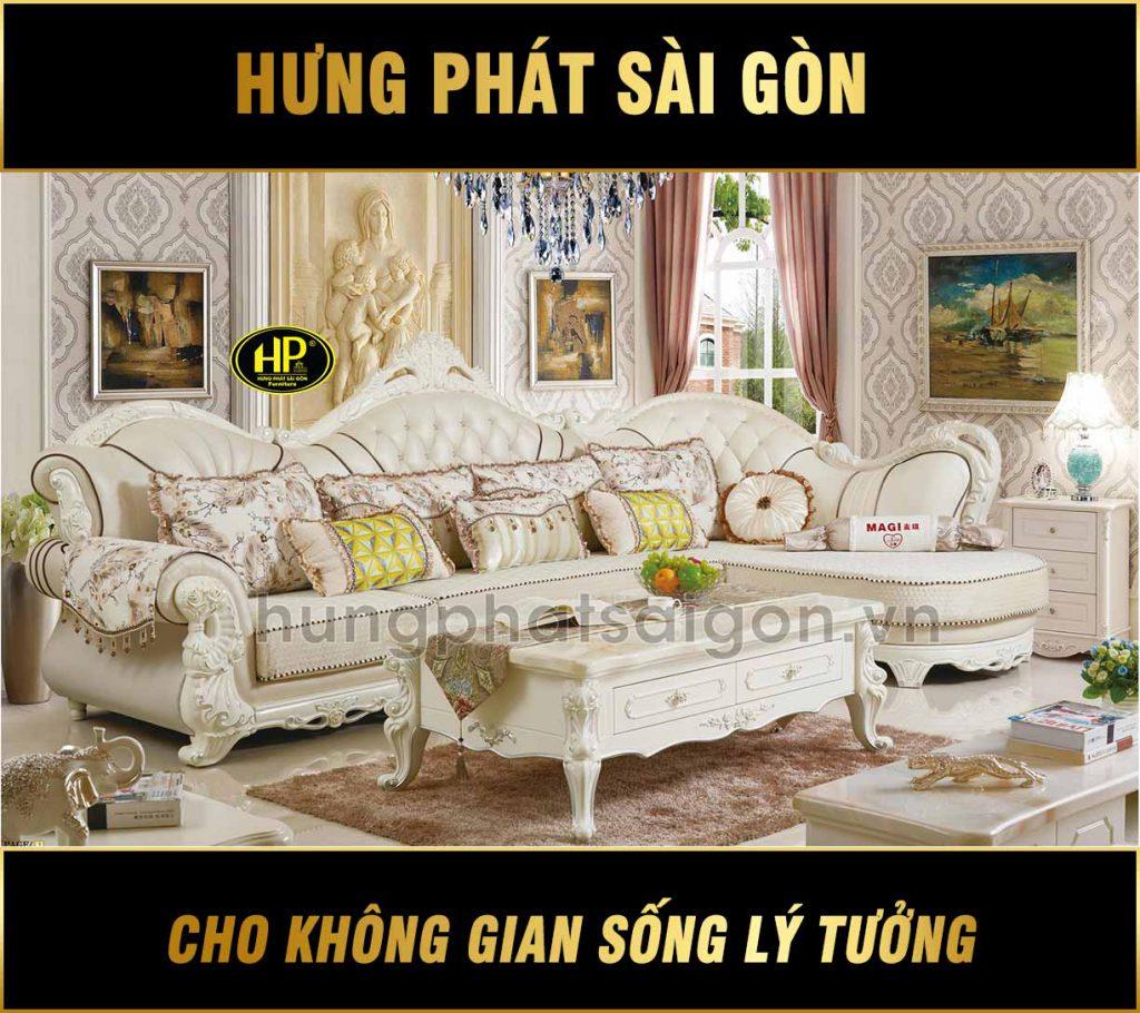 Sofa góc tân cổ điển nhập khẩu H-1813