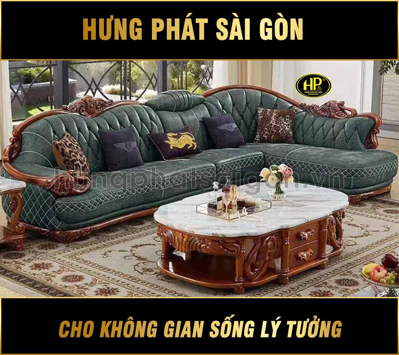 Sofa tân cổ điển nhập khẩu da bò B8