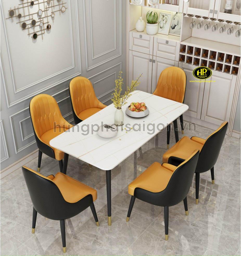 bàn ăn mặt đá 6 ghế