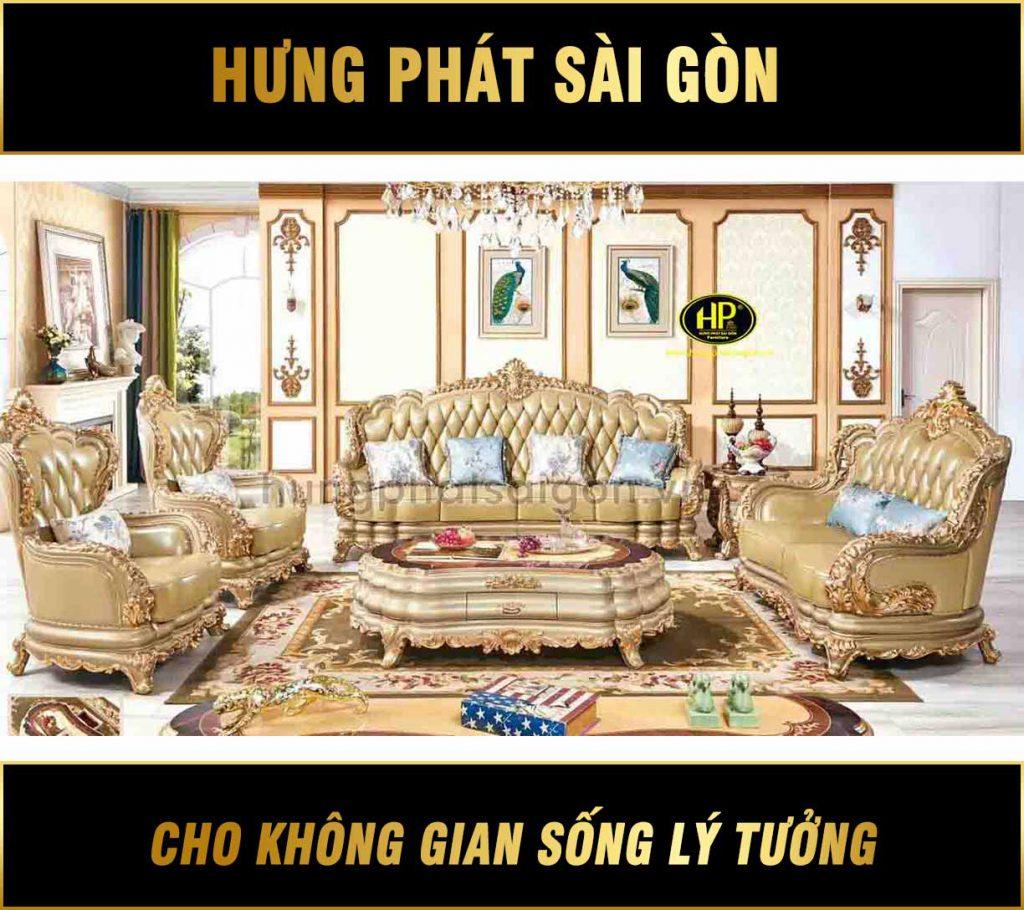 Sofa tân cổ điển hoàng gia dát vàng 24k M-315