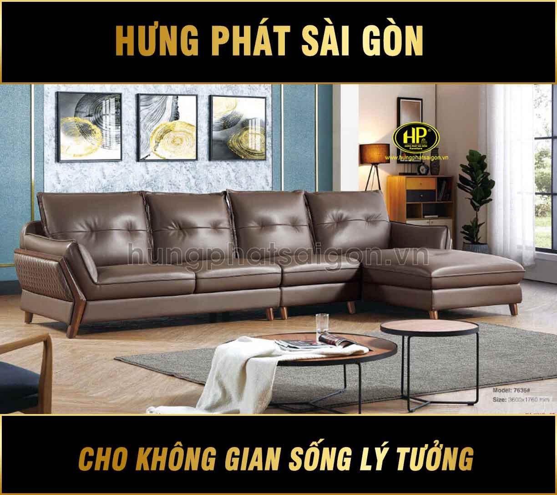 Sofa da công nghiệp hiện đại H-7636