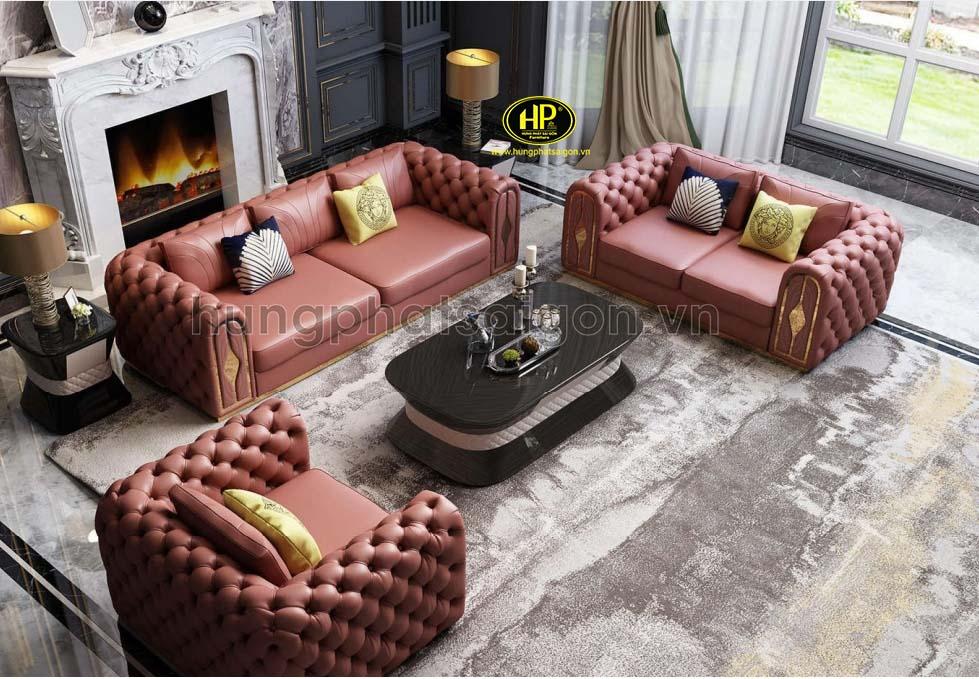 Bộ sofa da phòng khách nhập khẩu NK-13