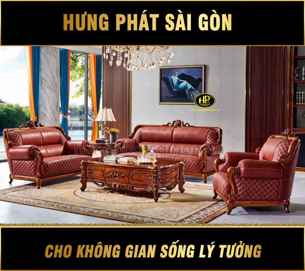 Bộ ghế sofa tân cổ điển nhập khẩu da bò Ý B03