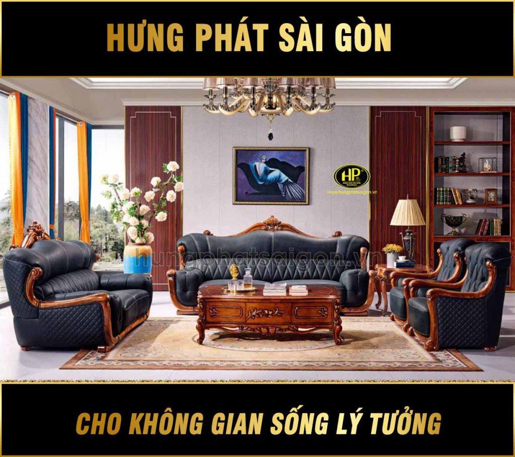 Ghế sofa gỗ mun tân cổ điển phòng khách B05