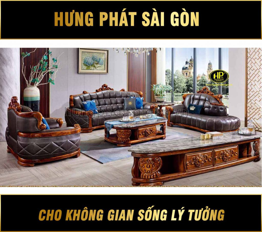 Ghế sofa tân cổ điển gỗ mun Nam Phi da bò Tây Ban Nha B09