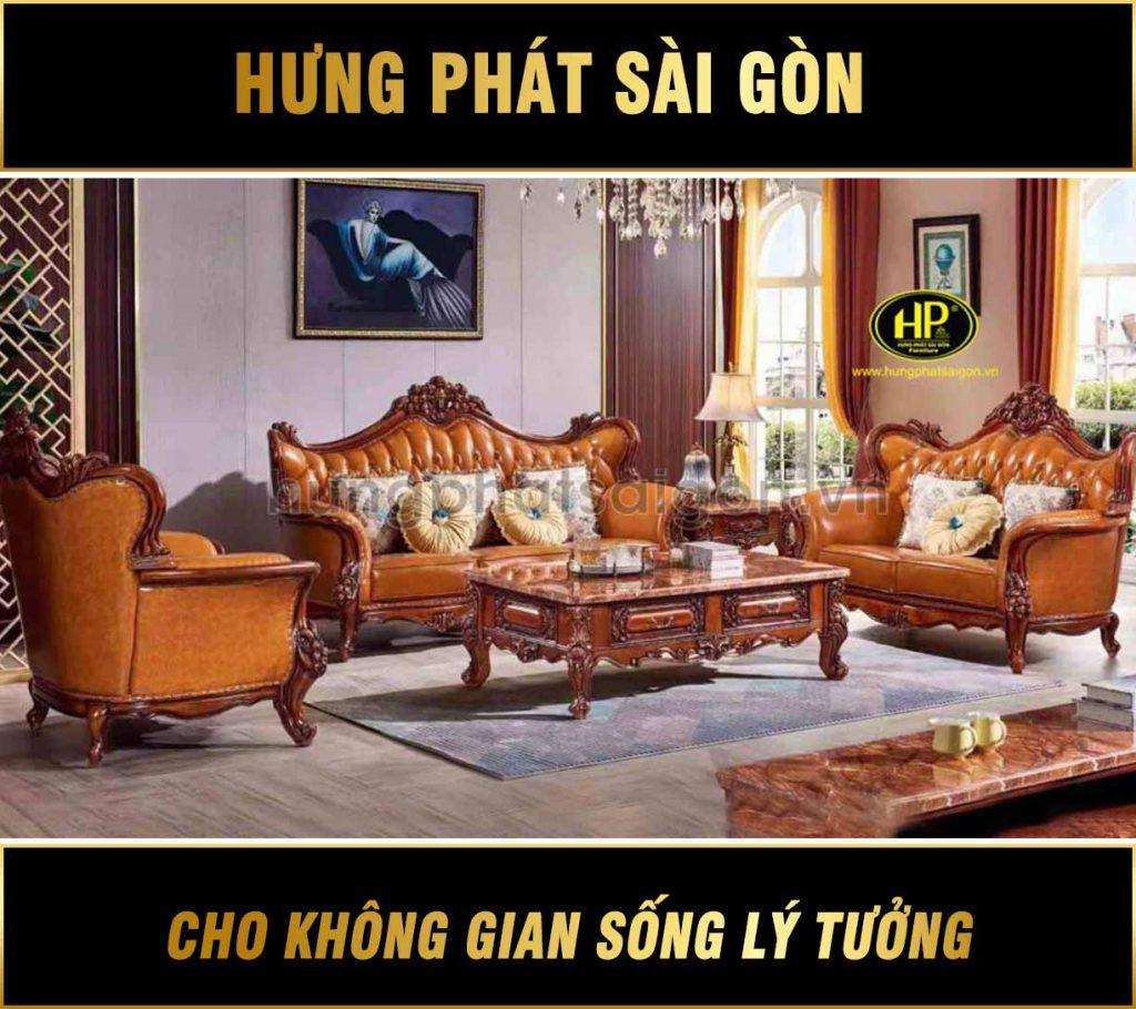 Ghế sofa tân cổ điển da bò cao cấp M-33B