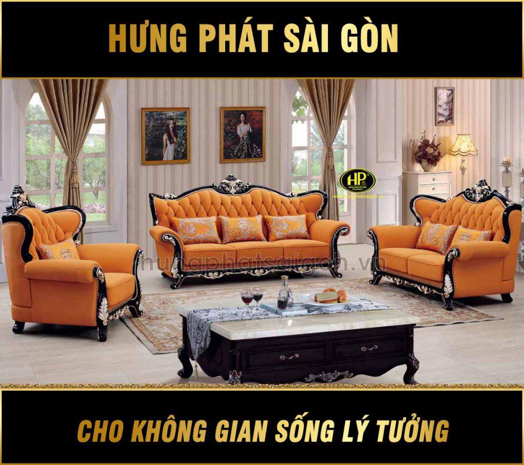 Ghế sofa tân cổ điển màu cam sang trọng H-898