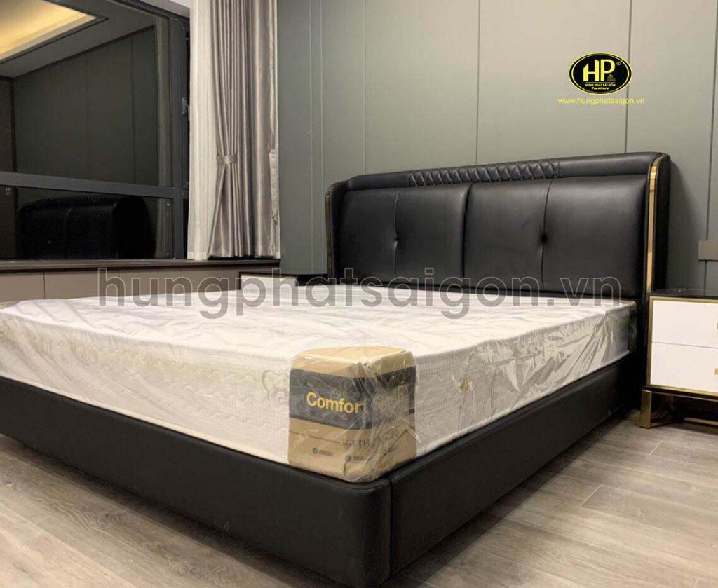 Giường bọc da đẹp màu đen GD-07