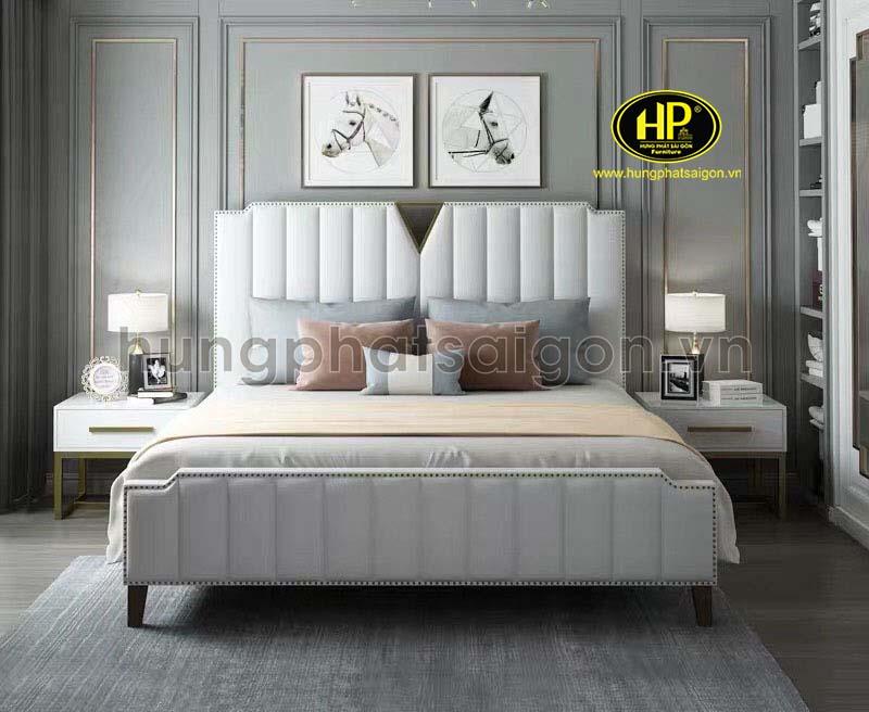 giường ngủ bọc da đẹp màu trắng