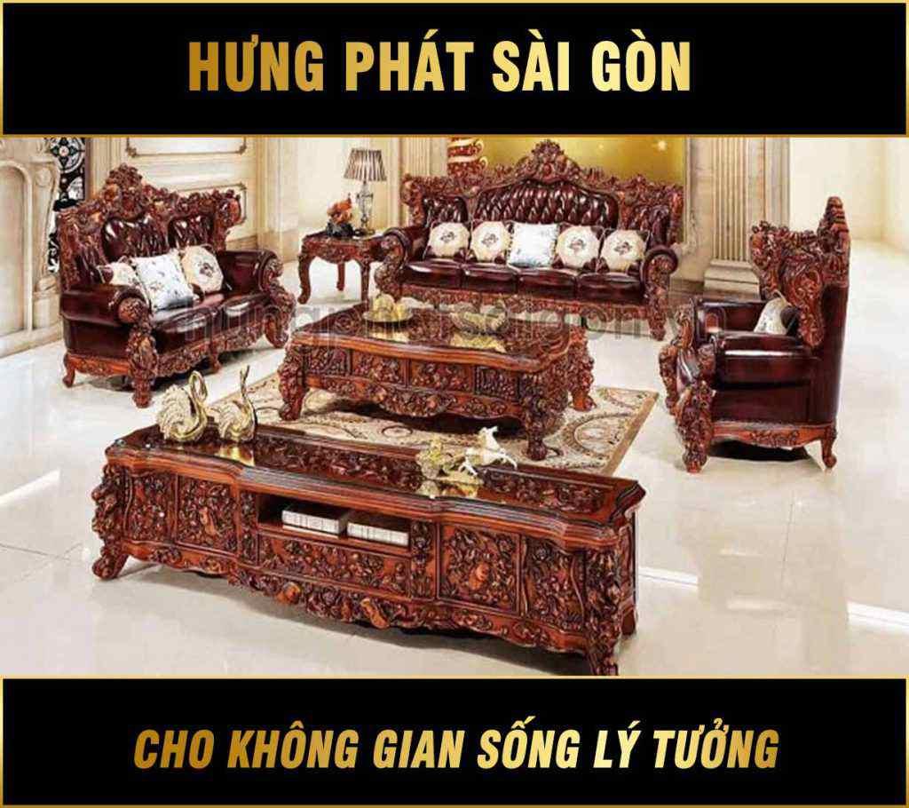 Sofa tân cổ điển gỗ hồng ngà hâu Phi M-61