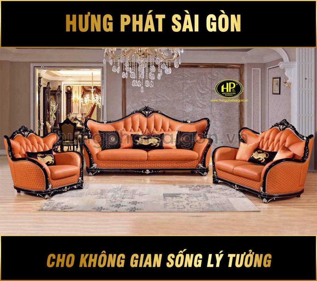 Sofa gỗ tân cổ điển da bò nhập khẩu M-86A