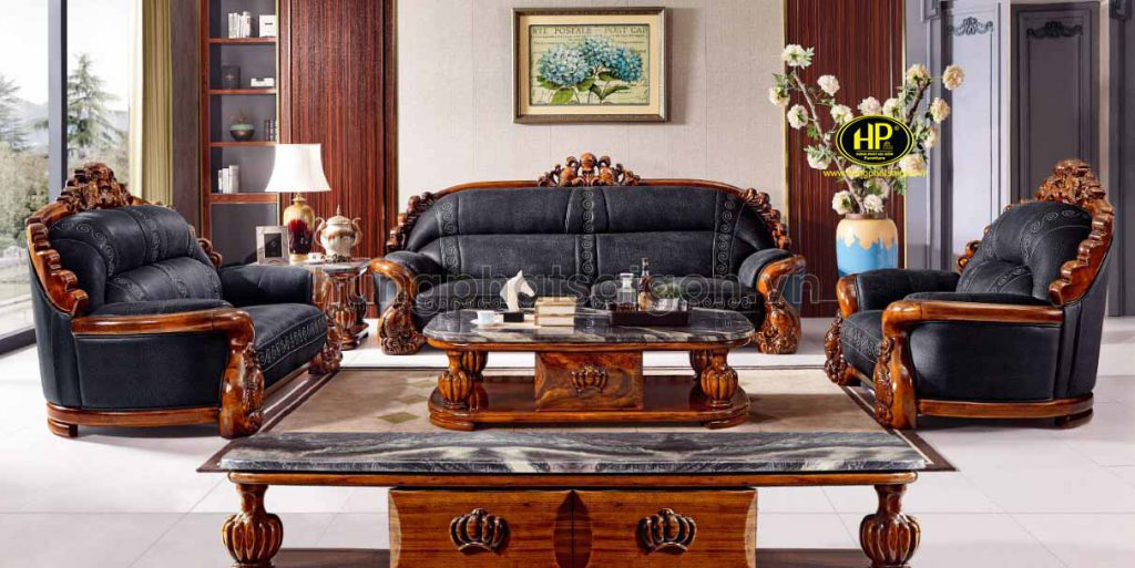 ghế sofa tân cổ điển da bò nhập khẩu
