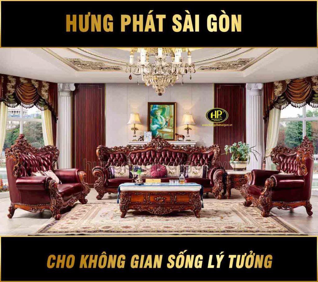 Sofa tân cổ điển khung gỗ hương đỏ nhập khẩu M-92