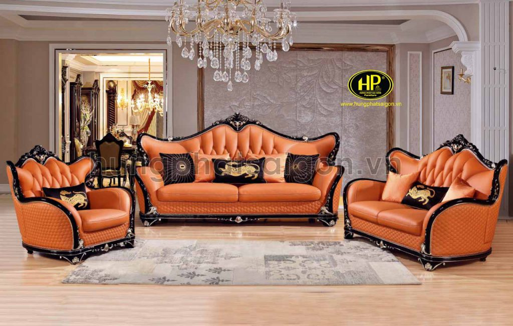sofa tân cổ điển da bò nhập khẩu cao cấp