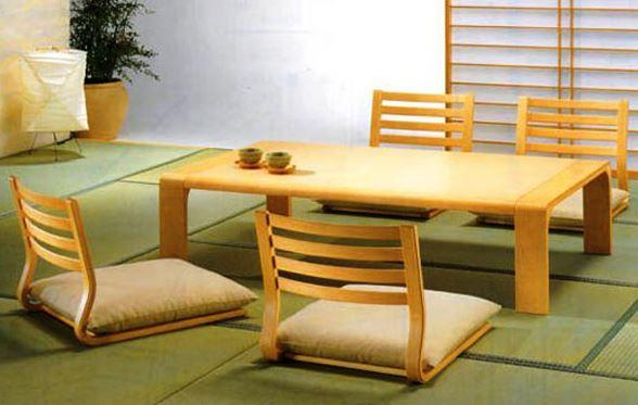 Bàn ăn ngồi bệt kiểu Hàn Quốc có ghế tựa lưng