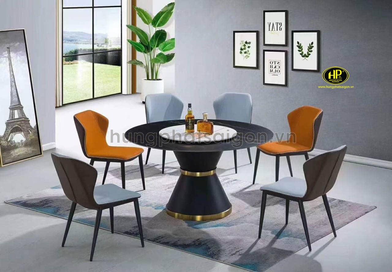 Mẫu bàn ăn thông minh có bàn xoay