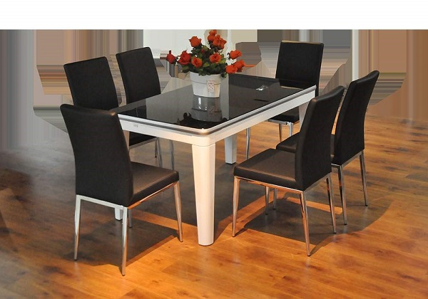bàn ăn mặt kính cường lực 6 ghế