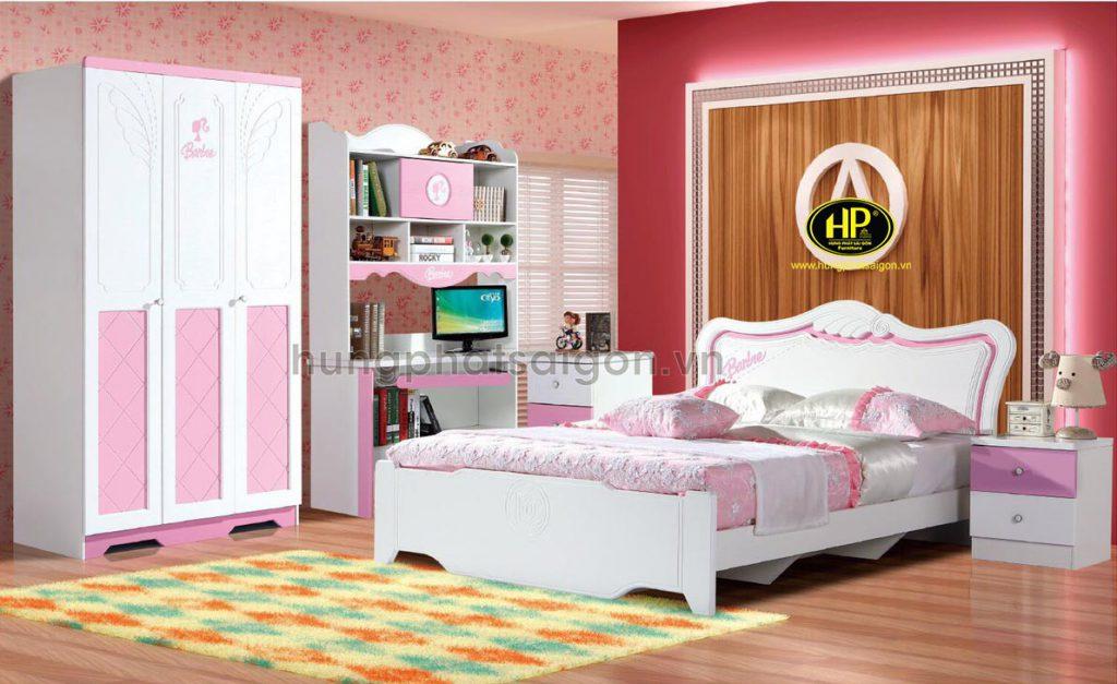 Bộ giường tủ bàn học màu hồng cho bé gái AT-914