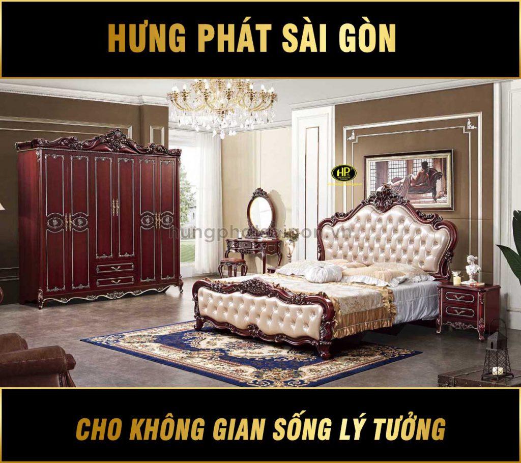 Bộ giường tủ bàn phấn cổ điển nhập khẩu TP-1659