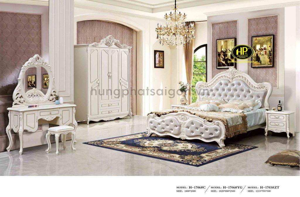 Bộ giường tủ bàn phấn tân cổ điển nhập khẩu TP-1706