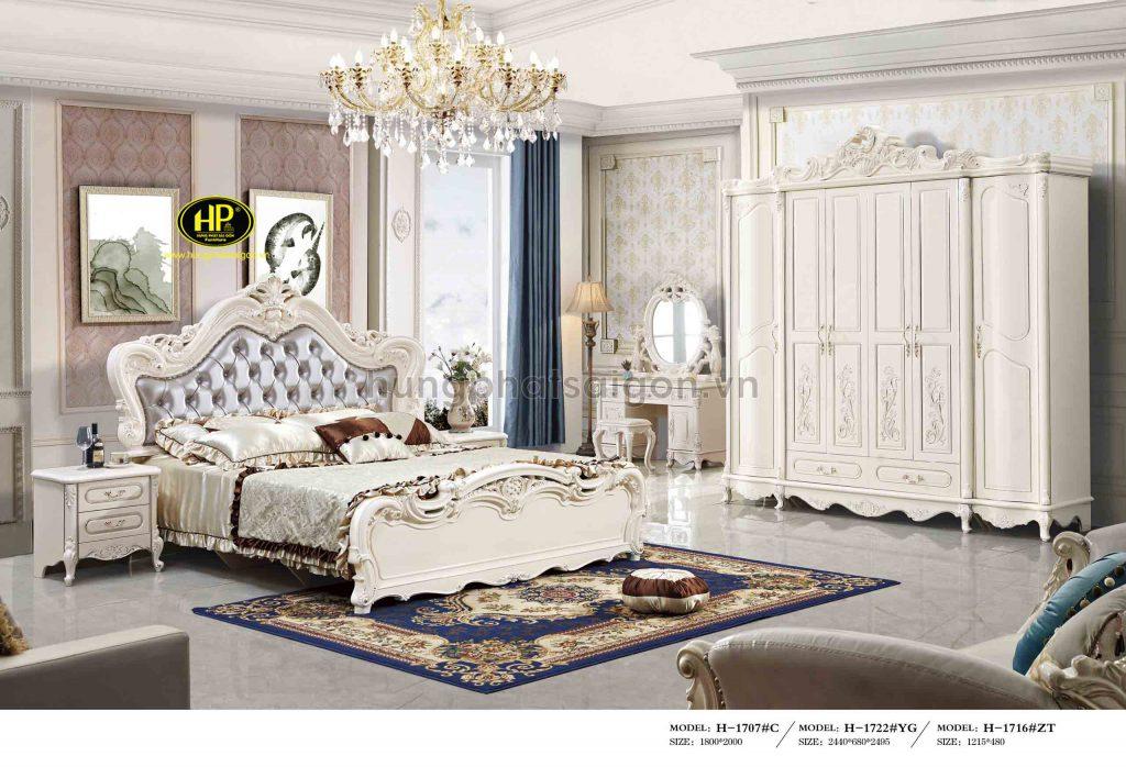 Bộ giường tủ bàn phấn tân cổ điển nhập khẩu TP-1707