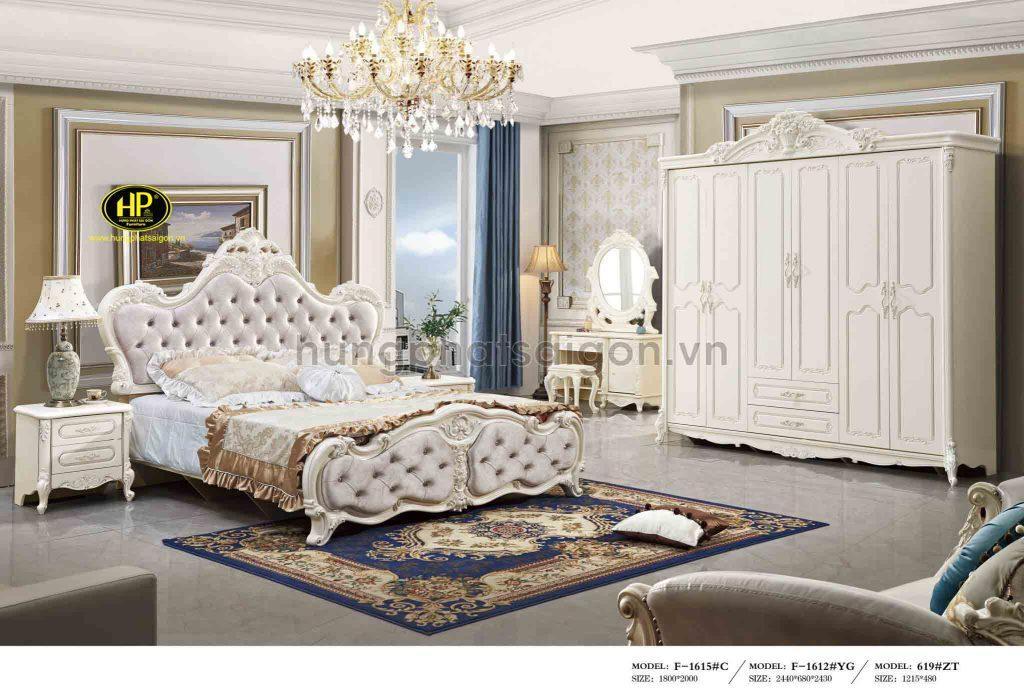 Bộ giường tủ tân cổ điển tặng kèm bàn phấn TP-1605