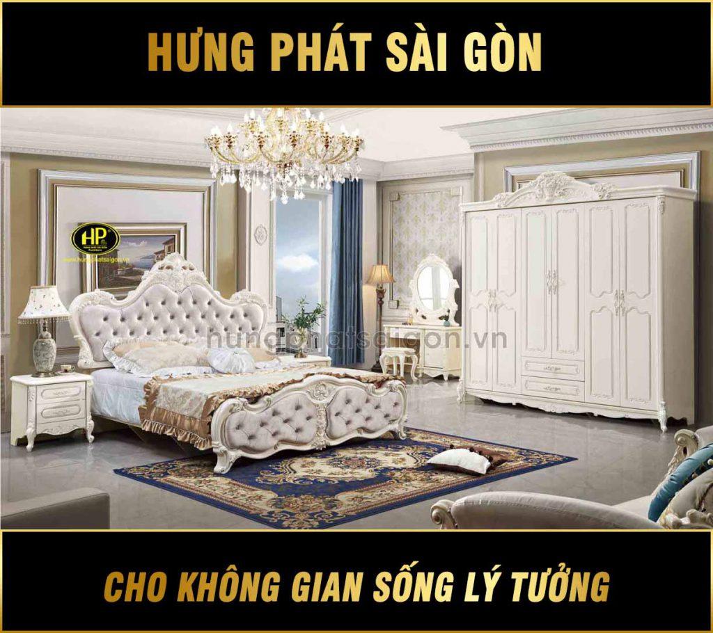 Bộ giường tủ tân cổ điển tặng kèm táp đầu giường TP-1615