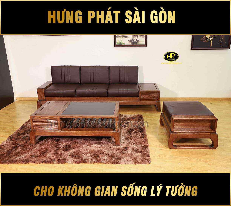 Ghế sofa gỗ cho phòng khách sang trọng HS-23A