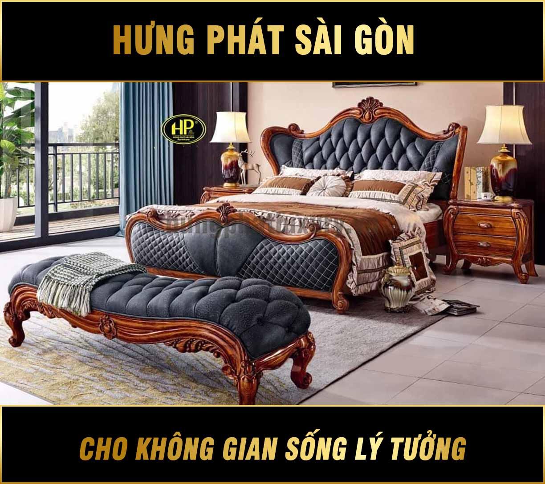 Giường cổ điển da bò A-55