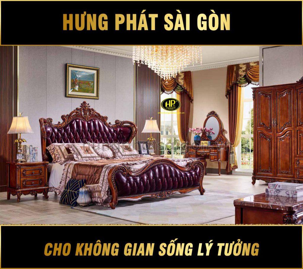 Giường ngủ tân cổ điển cao cấp A-56